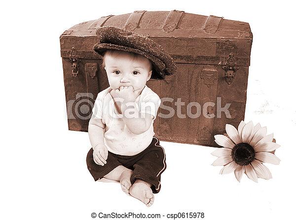 adorable vintage baby photo - csp0615978
