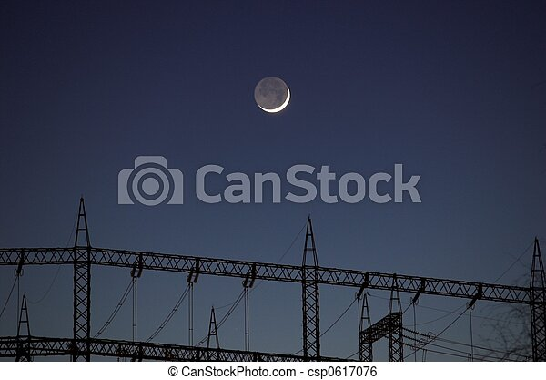 Moon over Power Masts - csp0617076