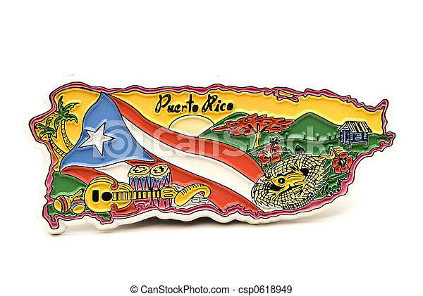 souvenir magnet of puerto rico in shape of the country map - csp0618949