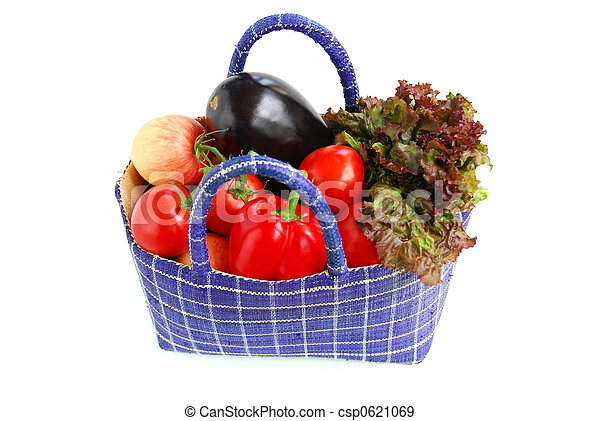Stock Photographs of Vegetables - Fresh vegetables and fruits in a basket...
