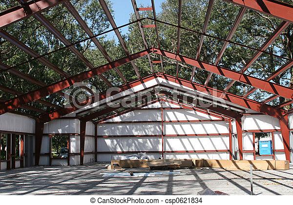 steel frame construction a steel framed building under