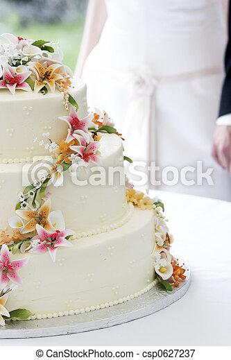 Wedding cake and couple - csp0627237