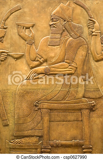 Assyrian fresco on the wall - csp0627990