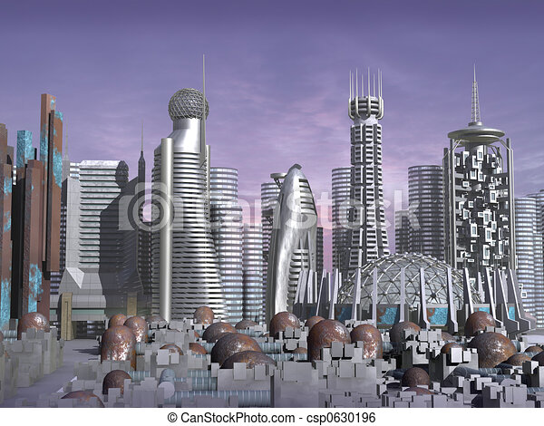3d Model of Sci-fi city  - csp0630196