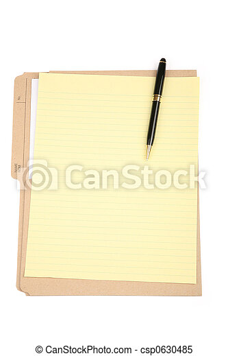 notepaper and file folder - csp0630485