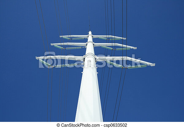White electricity pylon and the blue sky - csp0633502