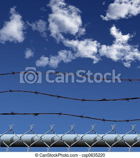 ChainLink Barbed Wire Illustration - csp0635220