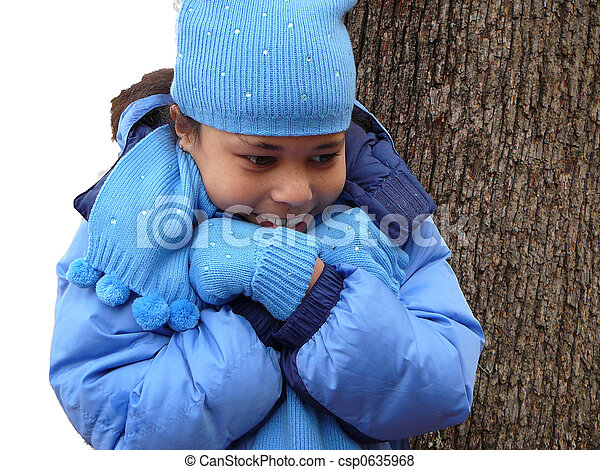 Stock Photo - Child out in the Cold - stock image, images, royalty ...