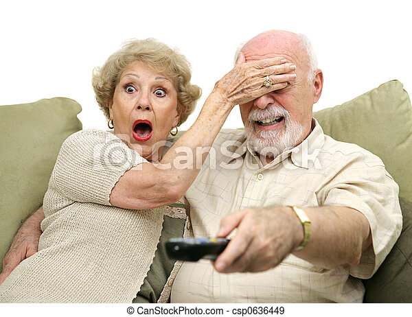Seniors Shocked by TV - csp0636449