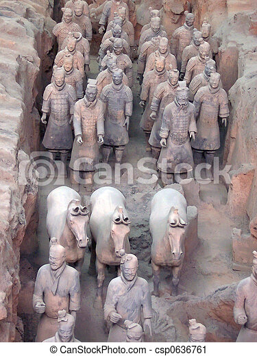 Detail of the terracotta warriors army, Zian, China - csp0636761