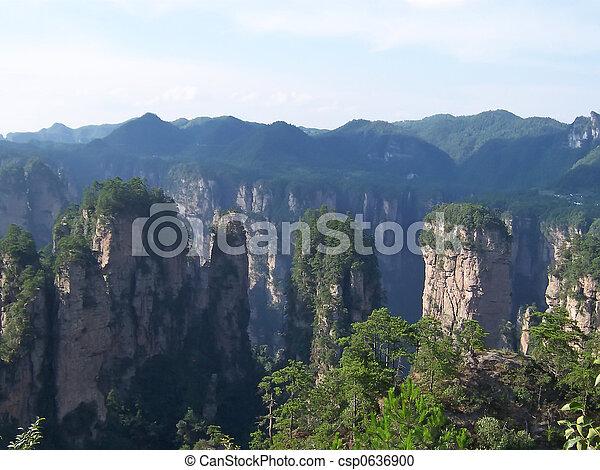 High rocks with tuft in the jungle, Zhengjiajie national park, China - csp0636900