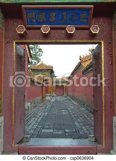 Imperial road trough an open door, Forbidden city, Beijing, China - csp0636904