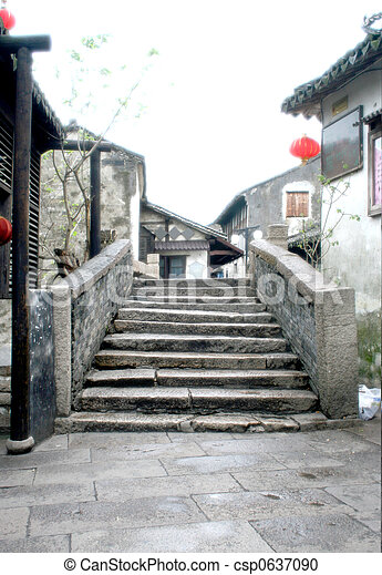 Ancient Stone Bridge at Zhouzhuang (Zhou's Town) - csp0637090