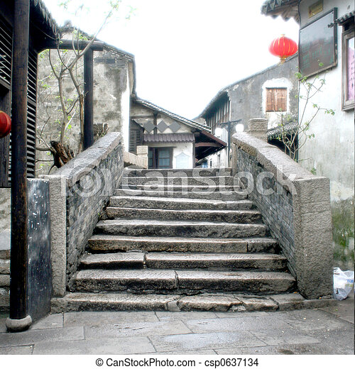 Ancient Stone Bridge at Zhouzhuang (Zhou's Town) - csp0637134
