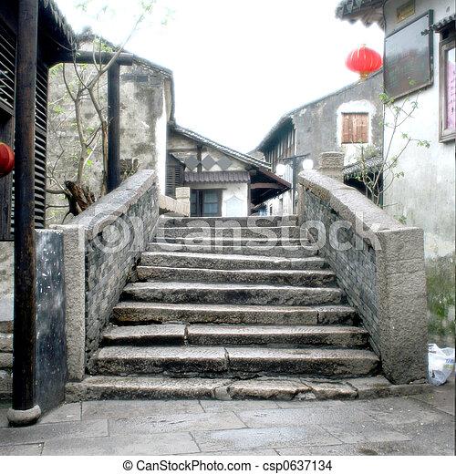 Ancient Stone Bridge at Zhouzhuang (Zhou's Town) - csp0637134