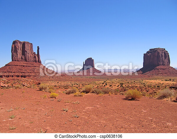 Three red peaks, Monument Valley National Park, United States - csp0638106