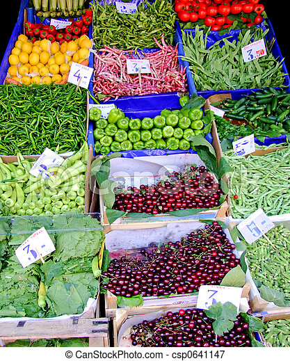 Farmer market with lot of fresh vegetables