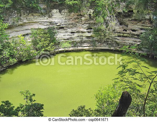 Green caldeira, Chichen Itza, Mexico - csp0641671