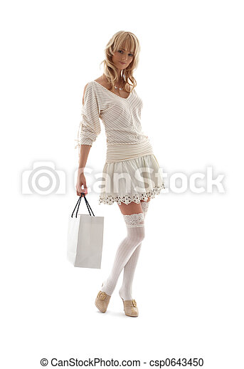 gorgeous blond with shopping bag #2 - csp0643450