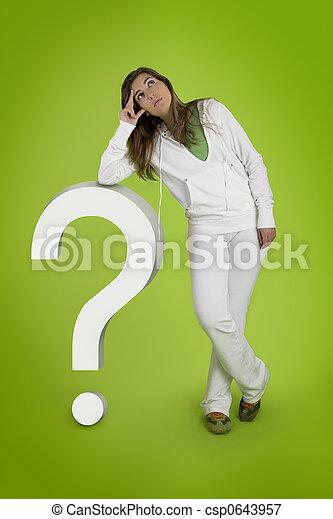 Woman contemplating questions - csp0643957