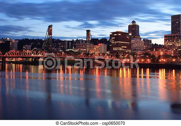 Downtown Portland Oregon at twilight - csp0650070