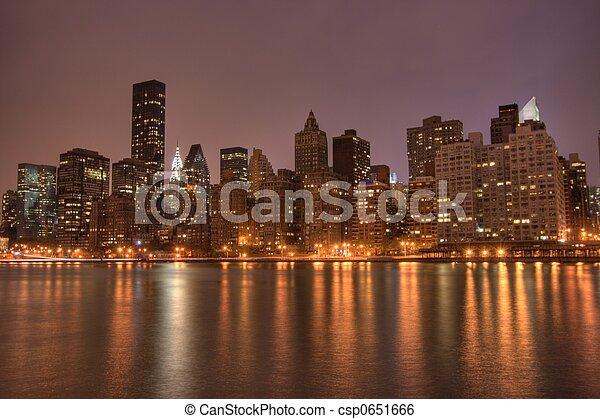 céntrico,  NYC, noche,  Manhattan - csp0651666