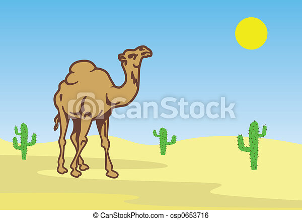 Camel In Desert Clip Art - Instant Download - csp653716