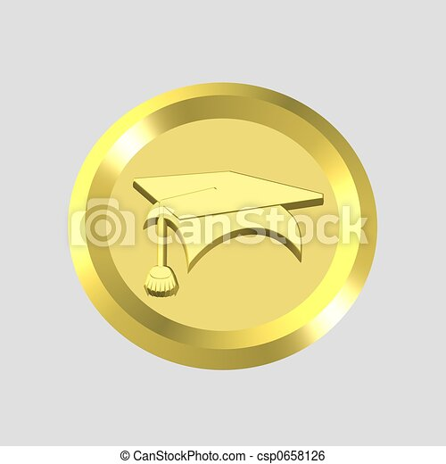 gold education icon - csp0658126