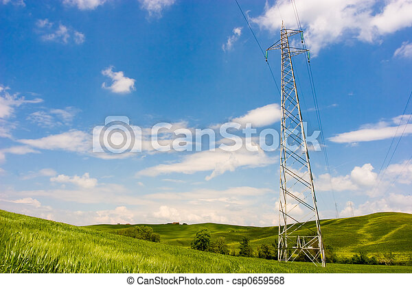 Powerline on Green Field - csp0659568
