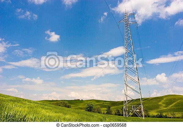 Powerline on Green Field - csp0659568