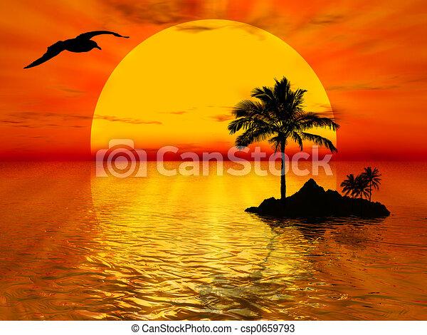 Disegni di tramonto illustrazione circa tramonto mare - Coucher de soleil dessin ...