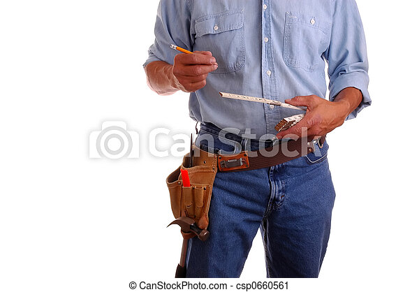 Carpenter holding ruler and pencil - csp0660561