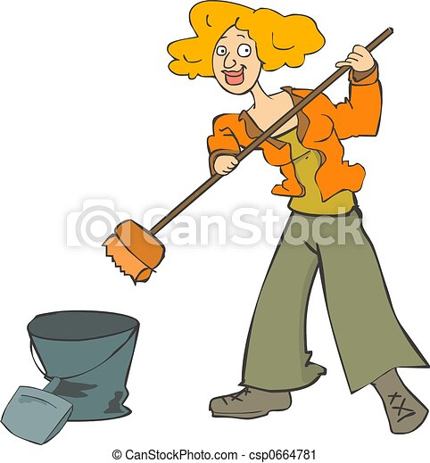 Girl cleaning  - csp0664781