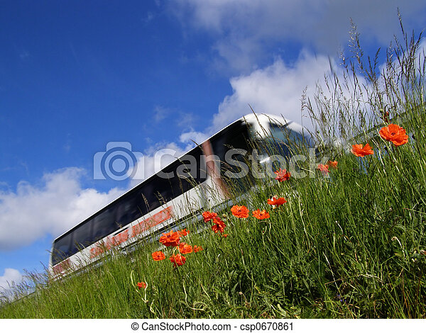 poppy, bus and motorway - csp0670861