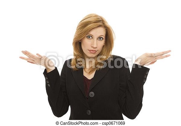 Businesswoman gestures confusion - csp0671069