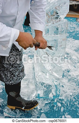 carving ice scuplture - csp0676001