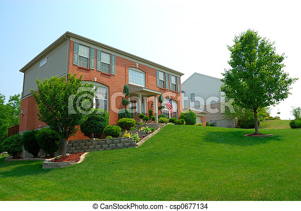 Residential 2-story brick home - csp0677134