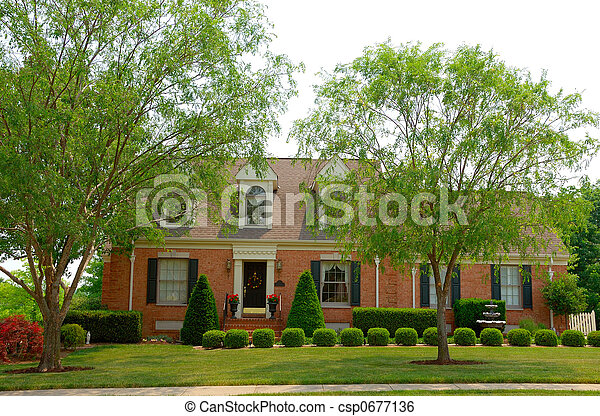 Residential two story brick home - csp0677136