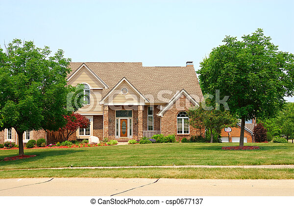 Residential two story brick home - csp0677137
