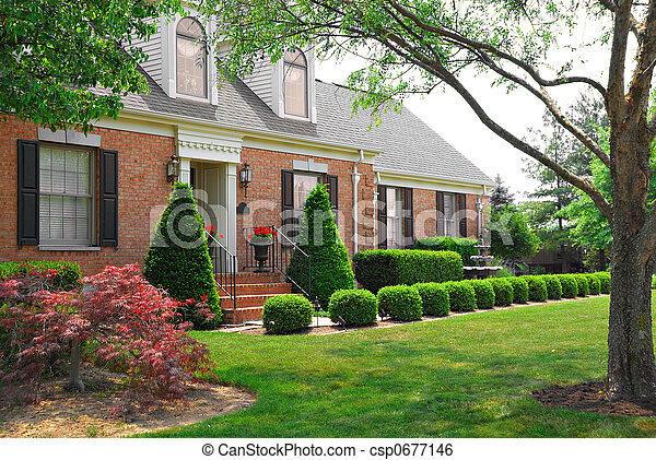 Residential two story brick home - csp0677146