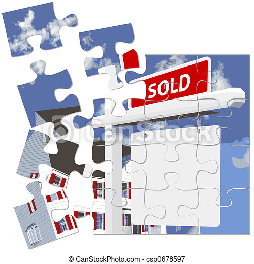 Real Estate Home SOLD Sign Puzzle - csp0678597