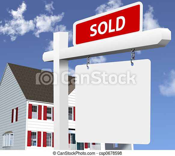 Home SOLD Real Estate Sign - csp0678598