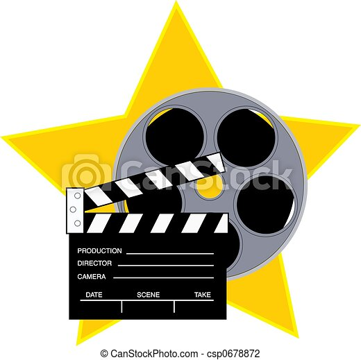 Clip Art of Movie reel and clapboard with a star background ...