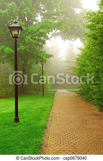 Foggy park - csp0679040