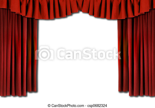 Red Horozontal Draped Theatre Curtains - csp0682324