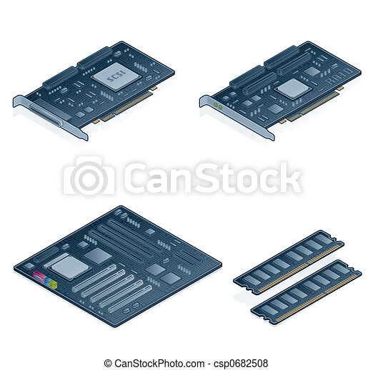 Computer Hardware Icons Set - Design Elements 55n - csp0682508