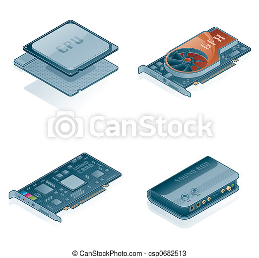 Computer Hardware Icons Set - Design Elements 55j - csp0682513