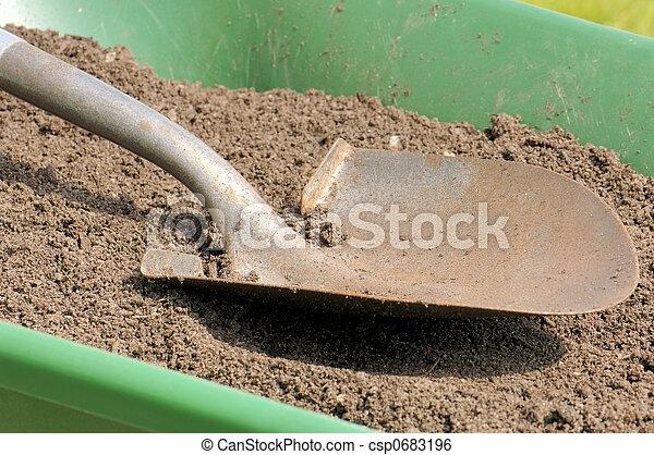 Gardening-Shovel-Sandy Soil-Wheelbarrow - csp0683196