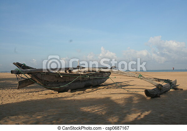 tropical beach with palm tree and boats