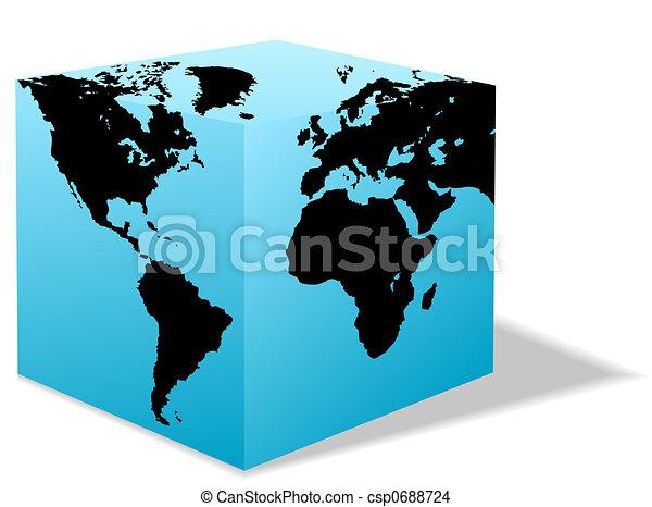 Square Earth Globe, Box map of America, Europe, Africa - csp0688724